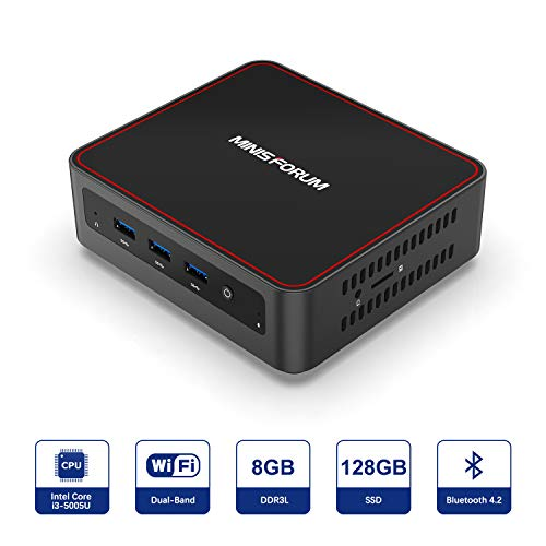 MINISFORUM Windows 10 Pro Mini PC, Intel Core i3-5005U Dual-Core Processor, 8GB DDR3L 128GB SATA SSD Desktop Computer, Support for 4K HD@60Hz/HDMI VGA Connection/Dual Band WiFi/Gigabit Ethernet/BT 4.2