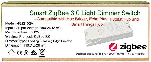 Smart ZigBee - Interruptor regulador de intensidad de luz para Echo Plus, ZigBee Bridge, SmartThings Hub, iluminador Zigbee Hub para controlar las luces normales, LED Downlights Smart Home Automation