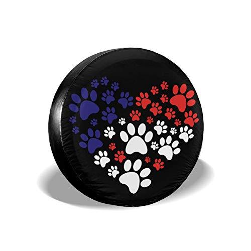 N\A La Pata del Perro del Gato Imprime la Cubierta del neumático de la Rueda de la Cubierta de Encargo del neumático del corazón Apta para Todos los Coches