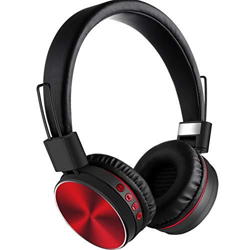 Bluetooth draadloze headsets, ruisonderdrukkende microfoon zachte oorkussens ademende oorschelpen volumeregeling telescopische armen sport hoofdtelefoon Rood
