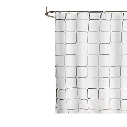 SonMo Duschvorhang Quadrat Gitter Karo Polyester Weiß Anti-Schimmel Anti-Bakteriell Wasserdichtbadezimmer Vorhang mit Duschvorhangringen 120×200CM