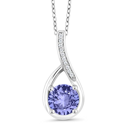 Gem Stone King 925 Sterling Silver Blue Tanzanite and Diamond Infinity Pendant Necklace For Women (0.97 Ct Round with 18 Inch Silver Chain)