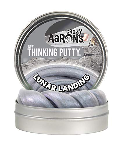 Crazy Aaron's Thinking Putty 4' Tin - Lunar Landing - Glow-in-The-Dark, Limited Edition - Contains Real Moon Rock!