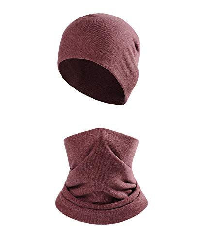 2Pcs Winter Beanie Hat Scarf Set for Men Women,Thermal Fleece Warm Skull Cap,Snow Gear Skiing Balaclava(Bordeaux)