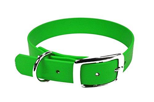 LENNIE BioThane Halsband, Dornschnalle, 25 mm breit, Größe 44-52 cm, Neon-Grün, Aufdruck möglich