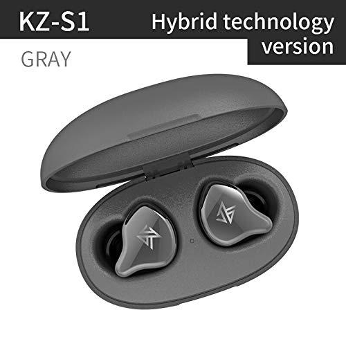 Auriculares KZ S1 S1D TWS Bluetooth inalámbrico Verdadero 5,0, Auriculares dinámicos/híbridos, Control táctil, cancelación de Ruido, Auriculares Deportivos (GrayS1Hybird)