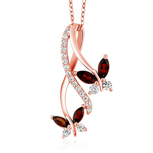 Gem Stone King Red Garnet 18K Rose Gold Plated Silver Butterfly Pendant Necklace 1.21 Ct Marquise Cut Gemstone Birthstone with 18 Inch Chain