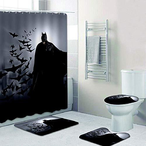 Yvelife Batman Cartoon 4-teiliger wasserdichter Duschvorhang aus Polyester mit rutschfesten Matten Robustes wasserdichtes Badezimmerdekor mit Haken