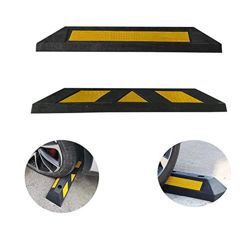 huaqiang194 Gummi-Parkrad-Anschlag Schwarz Hochleistungs-Parkblöcke mit gelben Reflexstreifen für PKW-LKW Wohnmobil-Garage 55x15x10 cm