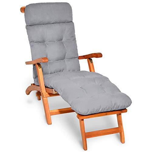 Beautissu Coussin Bain de Soleil Flair DC – Coussin transat épais – Coussin Chaise Longue pour Jardin, terrasse, Balcon - 200x50x8 cm - Gris Clair