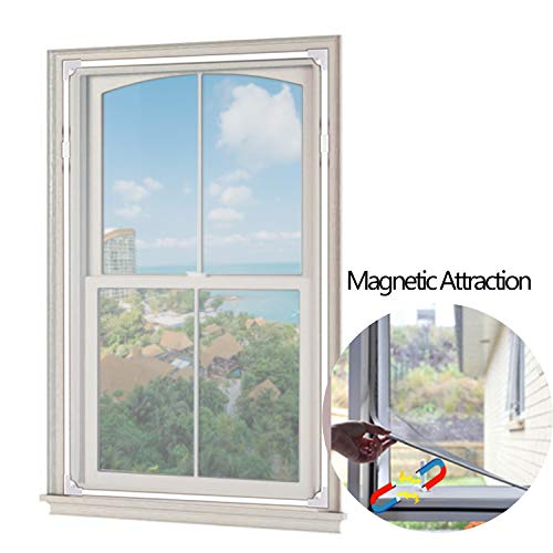 [2020 Upgrade]Adjustable Magnetic Window Screen, Max 59 × 39 Inch DIY Window Mesh with White Frame, Fit for Any Smaller Size - Easy to Install and Disassemble