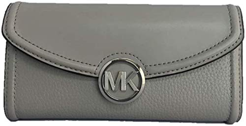 Pebbled leather with silver-tone hardware. Flap closure. Polished MK medallion logo. Exterior: Back slip pocket. Interior: Logo lining; Zip coin pocket, 10 credit card slots, full-length bill compartment and multifunction slip pocket. Approximate mea...