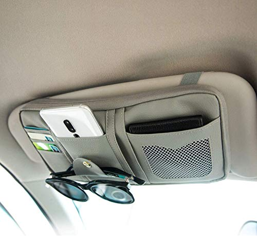 Organizador de parasoles para coche, bolsa de poliuretano impermeable, para tarjetas de crédito, bolsillo de disco de CD, tarjeta bancaria, gris (Gris) - Sac pare-soleil-40