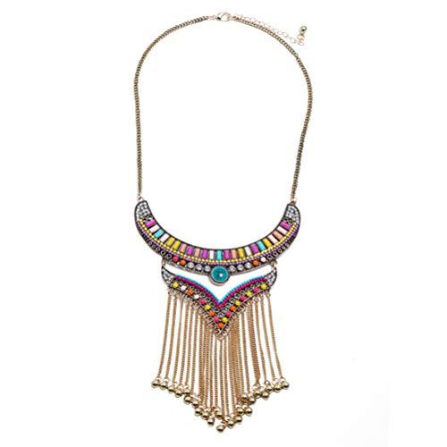 FENICAL Collares Collar Retro Borla Larga Collar Multicolor Boho Collar étnico de Playa