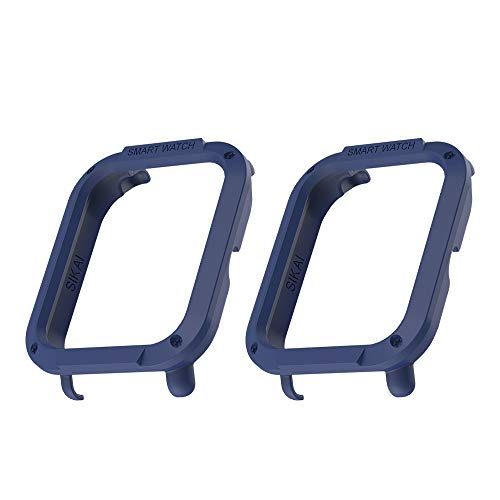 [2-Pack] Amazfit Bip Case SIKAI Protective Bumper Cover for Amazfit Bip Smart Watch PC Shell Skin Lightweight Multi-Colors Easy to Install (Midnight Blue)