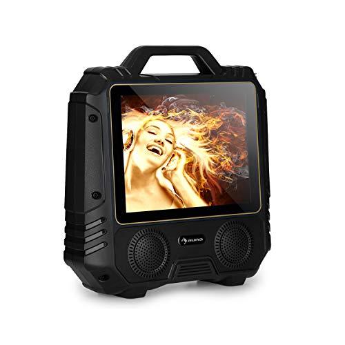 auna CenterStage - mobile Karaoke-Lautsprecher Anlage, Karaoke-System, Bluetooth, USB, MicroSD-Slot, 14.1\'\' Farbdisplay, Funk-Mikrofon, rechargeable Lithium-Akku, 30 Watt RMS, schwarz