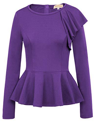 Womens Cute Slim Fit Crew Neck Tshirts Peplum Tops (S,Purple)