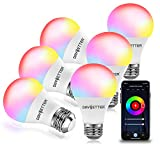 DAYBETTER Smart Light Bulbs, RGBW Wi-Fi Color Changing Led Bulbs Compatible with Alexa & Google Home Assistant, A19 E26 9W 800LM Multicolor Led Light Bulb, No Hub Required, Light Bulbs 6 Pack