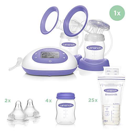Lansinoh 2in1 Elektrische Doppel-Milchpumpe inkl. NaturalWave Sauger Gr. S + Muttermilchflaschen (Weithals), 4 Stück + Muttermilchbeutel, 25 Stück + 2 Stück NaturalWave Sauger, Gr. S, langsamer Fluss