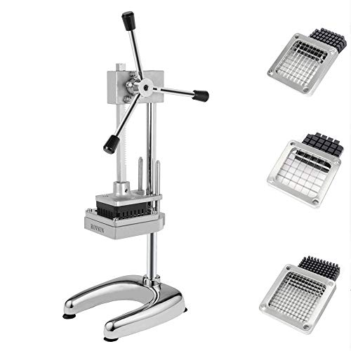 ROVSUN Upgraded Patented Commercial French Fry Cutter with 3 Sizes Blades Set, Rudder Stock Lever, Suction Feet, Potato Cutter Fruit Vegetable Slicer(1/2'', 3/8'', 1/4'' Blades and Pusher Blocks)