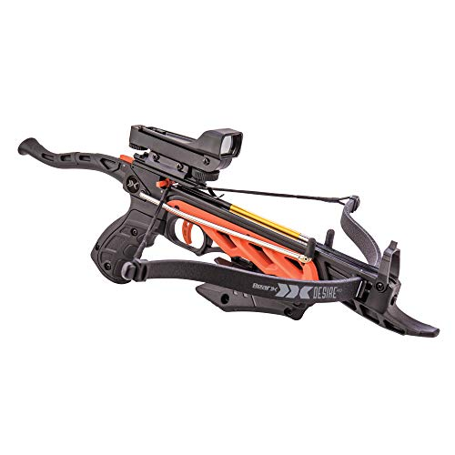Bear X AC90A0A260 Desire RD Self-Cocking Pistol Crossbow with Red Dot Sight 3 Premium Bolts, Black,...