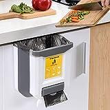 Hisonwel Cubos de Basura Plegable Bote de Basura Colgante Basura Extraible para Cocina Coche Baño y Oficina,9L (Blanco)