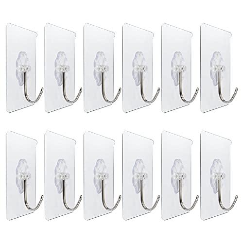 Handtuchhaken Wandhaken Wiederverwendbare nahtlose Haken (max. 13 Pfund), wasserdicht und öldicht, selbstklebende Hochleistungshaken für Badezimmerküchen, 12er-Pack (transparent)