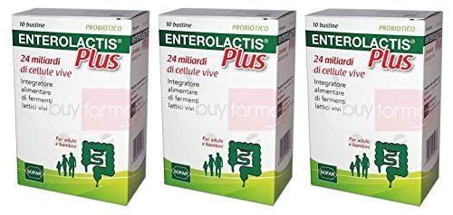 BUYFARMA PROMO PACK - 3X Enterolactis Plus 10 Bustine - Integratore di Fermenti Lattici da 24 Miliardi di Cellule Vive - 30 Bustine + Omaggio a Sorpresa