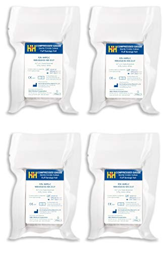 """H&H Compressed Sterile Gauze HHPG-C, 4.5"""" x 4.1 Yards, 6-Ply White Cotton, Essential First Aid and Stop The Bleed Kit Supply for Home, Medical, and Tactical Use"""