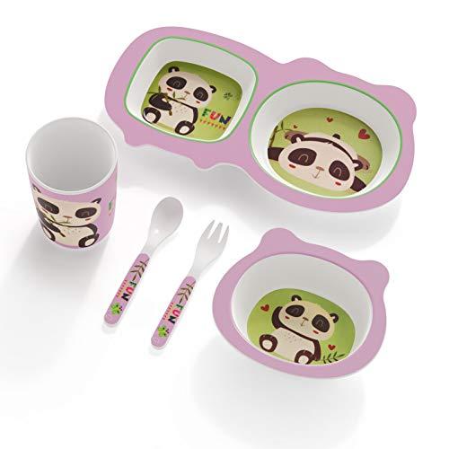 H HOMEWINS Vajilla infantil de 5 piezas hecha de bambú: plato, cuenco, cuchara, tenedor, taza, cubertería infantil sin BPA, juego de vajilla ecológica para bebés pequeños (Panda-2)
