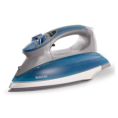 Maytag Digital Smart Fill Steam Iron & Vertical Steamer with Pearl Ceramic Sole Plate, Removable Water Tank + Thermostat Dial, Grey/Blue, M1400