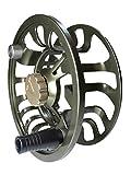 Colorado Fliegenfischrolle 5 6 7 Gewicht Forellenangeln Super großer Dorn, Multi-Disc Drag Wheel Ergonomischer Griff Links/Rechtshänder, versiegelt für Süß- oder Salzwasser, olivgrün, 5 6