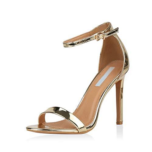 SCARPE VITA Damen Sandaletten High Heels Elegante Abendschuhe Basic Stilettos 157808 Gold 36
