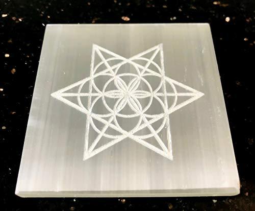 crystalmiracle Selenita 3'Estrella Cuadrada Grabada Placa de Reiki de Carga Curación de Cristal FENG Shui Piedra Preciosa Energía Paz Meditación Artesanal