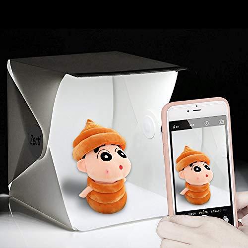 Lightbox Zecti Dimmerabile per Studio Fotografico, Tenda fotografica 30x30 cm Portatile con 2 Strisce di Luci a LED Regolabili e 2 Sfondi