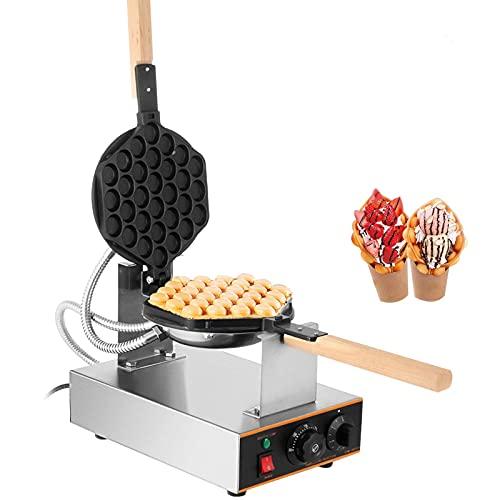 VEVOR Gofrera Máquina de Gofre de Acero Inoxidable para Hacer Bubble Waffles Girario 180 Grado con Mango de Madera