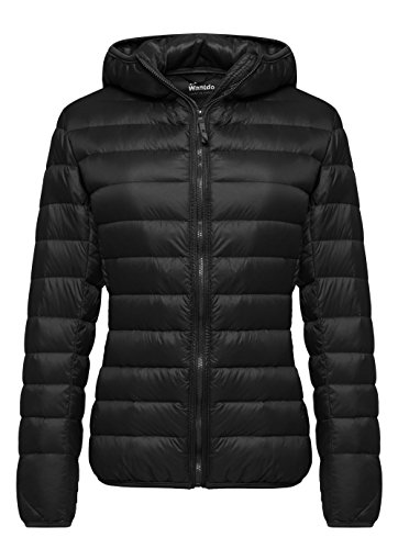 Wantdo Women's Hooded Packable Ultra Light Weight Down Coat Short Outwear,US X-Large/ASIAN 3XL,Black