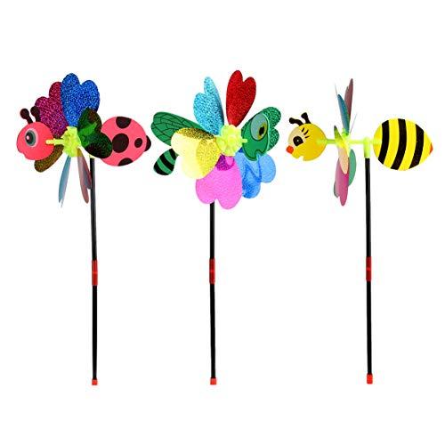 Hemoton 3 Stücke Kinder Windrad Schmetterling Gartenstecker Bienen Kunststoff Windmühle Spielzeug Libelle Wind Spinner Dekostecker für Outdoor Rasen Balkon Garten Deko (Zufällig)