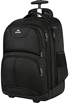 Rolling Backpack MATEIN Waterproof College Wheeled Laptop Backpack for Travel Carryon Trolley Luggage Suitcase Compact Business Bag Student Computer Bag for Men Women fit 15.6 Inch Notebook,Black
