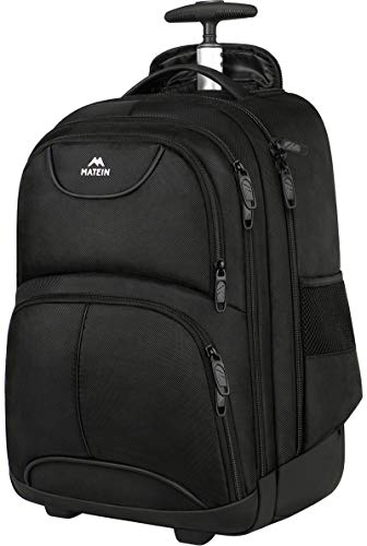 Wheeled Backpack, 17 Inch Laptop Backpack with Wheels for High School or College, Rolling Travel Backpack, Matein Carryon Trolley Luggage Suitcase Compact Business Computer Bag for Men Women,Black