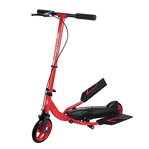 Scooter for Boys, Foldable Stepper Scooters Swing Kick-Scooter with Dual Pedal Foot Drive Fitness-Scooter for Adults Kids Youth Boys/Girls/Children- Red