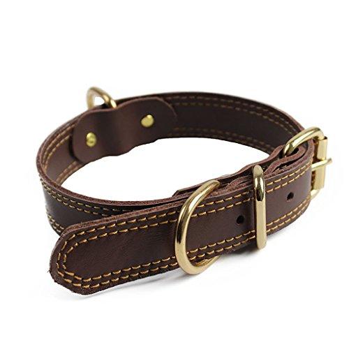 Bliqniq Lujo Collares de Perros de Cuero Grandes Mediano pequeños, Cuello Ajustable, marrón