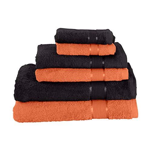 Mixibaby Juego de toallas de mano (2 toallas de baño, 2 toallas de ducha, 2 toallas de mano, 2 toallas de mano, color marrón claro