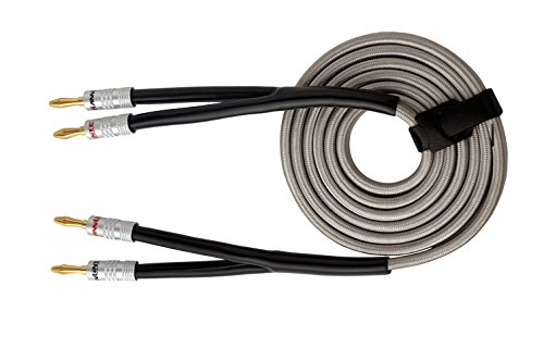 HannLinte Speaker Wire - Speaker Cable(10.0FTx1) with Gold Plated Banana Plugs-12AWG (OFC), (1 Cable), Silver Color (10.0FT)
