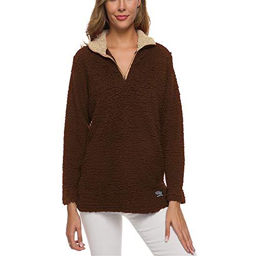 yanghuakeshangmaoyouxiangong Damen Pullover Warme Winter Fleece Oberteile Damen Jacke Tops