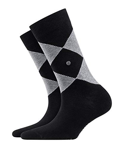 BURLINGTON Damen Socken Argyle Organic - 82% Baumwolle, 1 Paar, Schwarz (Black 3000), Größe: 36-41