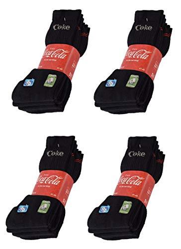 Coca-Cola 10/15/20 Paar Herren/Damen Sportsocken, in Schwarz, Blau/Grau, Weiß mit Sanitized Ausstattung - wirksam gegen Geruch und Bakterien in 35-40/41-45/46-50 (41-45, 20 Paar Schwarz)
