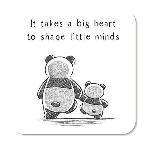 It Takes A Big Heart to Shape Little Minds Panda Teacher Coaster by Rors and Wren   Thoughtful Gifts   Thank You Teacher Gifts   Nursery Teacher Gifts   Teacher Presents   Miss Teacher   9cm by 9cm