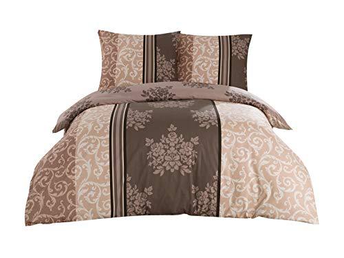 Class Home Collection 3 TLG. Renforce Baumwolle Bettwäsche Bettgarnitur Set Reißverschluss 200x200 cm Natura Braun