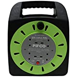 Eurosonic PIF2071 4 Way UK 3Pin Plug 13amp Extension Reel with Heavy-Duty Winding Cable and Safety Cut Out Switch - Black, 25 Metre